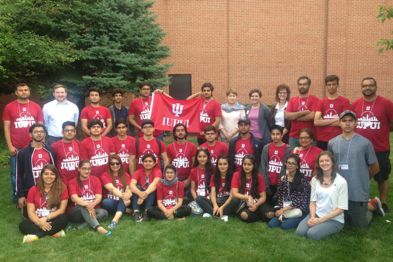 Twenty-one Pakistani high school students visit IUPUI and tour Informatics and Computing as part of college tour through EducationUSA Pakistan Career Pathways.