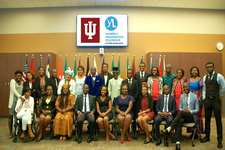 25 Mandela Fellows from 18 countries with IUPUI leaders