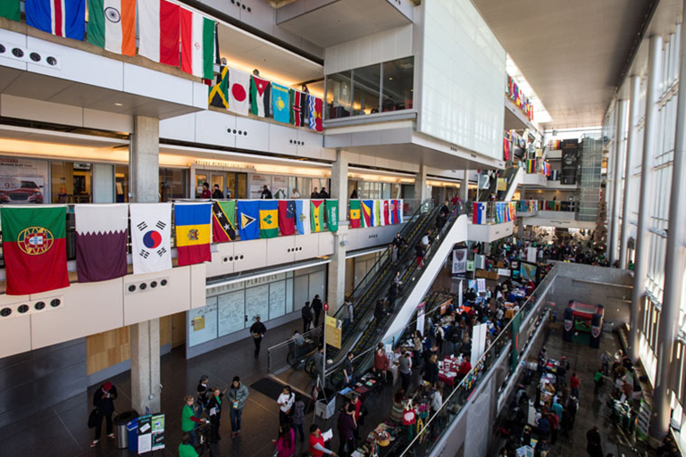 International flags hung at the IUPUI Campus Center