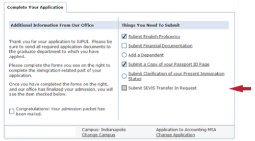 submit SEVIS transfer in request