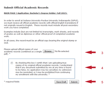 Submit official academic records