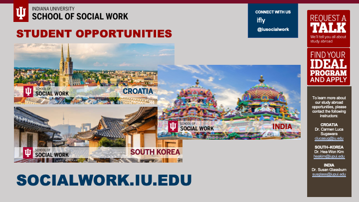 Study abroad in India, Croatia, or South Korea with IU School of Social Work