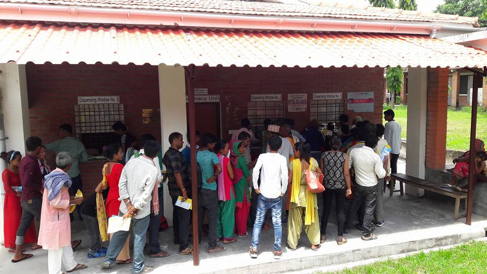 Patients line up to be treated at the Ladgadh Leprosy Hospital
